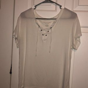 white american eagle lace up tee